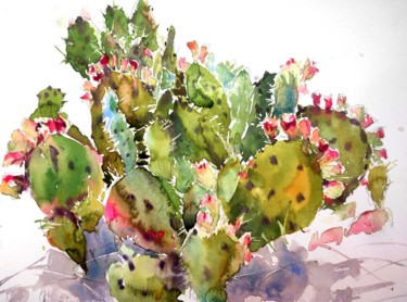 """Painting titled """"Prickly pear cactus…"""" by Ibolya Taligas, Original Art, Watercolor"""