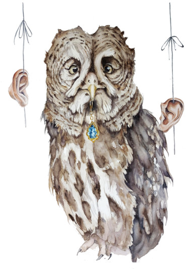 """Painting titled """"''The Owl needs a p…"""" by Ingaside, Original Art, Watercolor"""