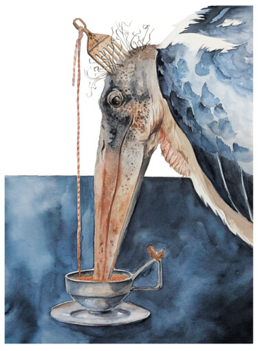 """Painting titled """"''The Sip of Golden…"""" by Ingaside, Original Art, Watercolor"""
