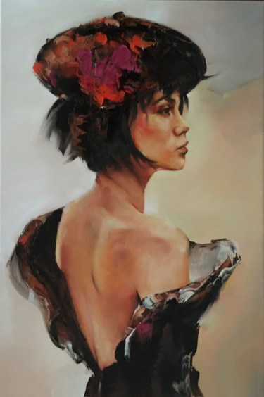 """Painting titled """"Woman with beret III"""" by Inge Coolen, Original Art, Oil"""