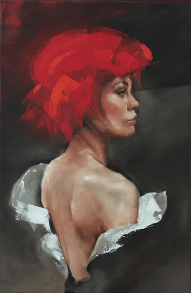 """Painting titled """"Woman with beret I"""" by Inge Coolen, Original Art, Oil"""