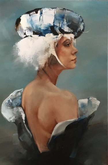 """Painting titled """"Woman with beret IV"""" by Inge Coolen, Original Art, Oil"""