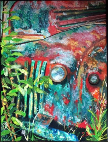 """Painting titled """"voiture rouillée"""" by Ingrid Budai, Original Art, Oil Mounted on Stretcher frame"""