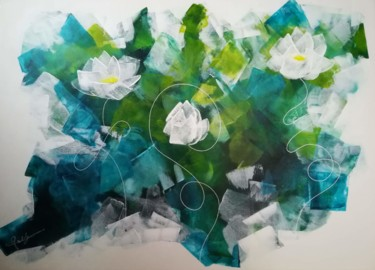 """Painting titled """"CRYSTAL FLOWERS"""" by Inspired By Nature, Original Art, Acrylic Mounted on Stretcher frame"""