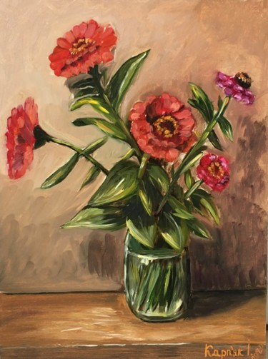 Flower Painting, oil, figurative, artwork by Ira Karpyak