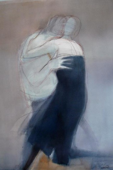 """Painting titled """"Grey couple"""" by Irena Luse, Original Art, Watercolor"""