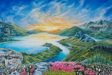 """Painting titled """"Road to the sun"""" by Hvalina Irina, Original Art, Oil Mounted on Stretcher frame"""