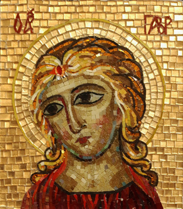 """Painting titled """"Icon of the Archang…"""" by Irina Nesterova, Original Art, Mosaic"""