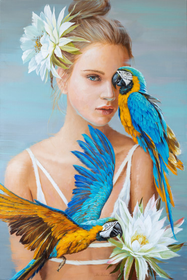 """Painting titled """"Girl with blue parr…"""" by Ira Volkova, Original Art, Oil"""