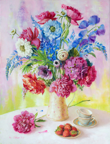 """Painting titled """"Strawberry for two"""" by Ira Volkova, Original Art, Oil"""