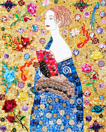"""Painting titled """"Lady with Fan Gusta…"""" by Irina Bast, Original Art, Mosaic Mounted on Stretcher frame"""
