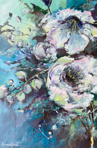 """Painting titled """"Flowers In The Midd…"""" by Irina Rumyantseva, Original Art, Acrylic Mounted on Stretcher frame"""