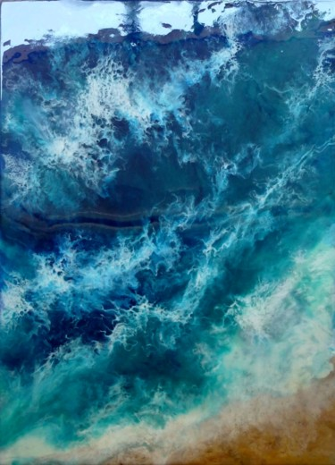 Sea Waves Resin Art Painting by Irini Karpikioti Artmajeur