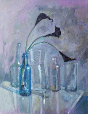 """Painting titled """"Blue bottle with ca…"""" by Irina Lopuh, Original Art, Oil"""