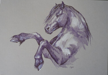 """Drawing titled """"Rearing friesian"""" by Irynahorseart, Original Art, Ink"""