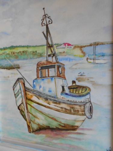 Boat Painting, watercolor, figurative, artwork by Isabelle Stock