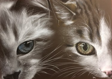 """Painting titled """"Double cats 2"""" by Isabelle Molinard, Original Art, Acrylic"""