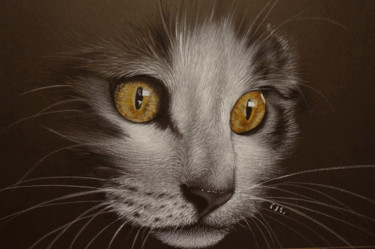 """Painting titled """"Golden Eyes"""" by Isabelle Molinard, Original Art, Acrylic"""