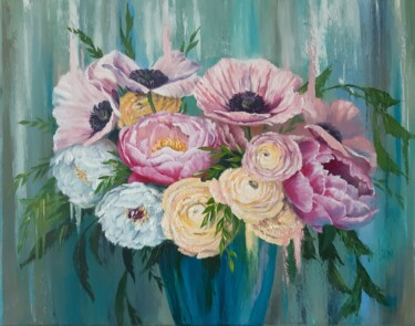 """Painting titled """"Flower Bouquet"""" by Marina Izotova, Original Art, Oil Mounted on Stretcher frame"""