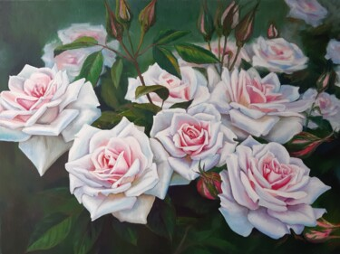 """Painting titled """"Pink Roses"""" by Marina Izotova, Original Art, Oil Mounted on Stretcher frame"""