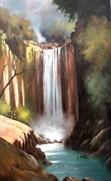 Mountainscape Painting, oil, impressionism, artwork by Andrea Borella