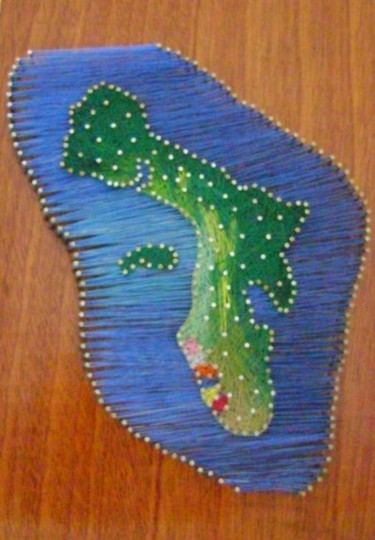 """Textile Art titled """"Bonaire with her co…"""" by Ita Mercera, Original Art, Other"""