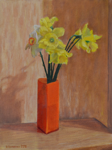 """Painting titled """"Daffodils"""" by Ivan Ormanzhi, Original Art, Oil"""