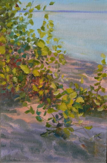 """Painting titled """"Yang poplars by the…"""" by Ivan Ormanzhi, Original Art, Oil"""