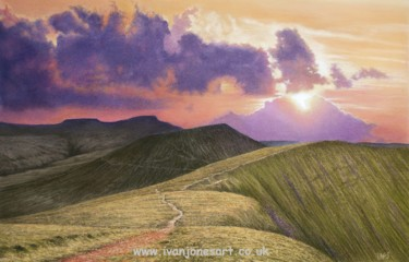 """Painting titled """"Brecon Beacons suns…"""" by Ivan Jones, Original Art, Pastel Mounted on Cardboard"""
