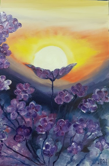 """Painting titled """"Sunrise in a field…"""" by Ivelina Hrytsylo, Original Art, Oil"""