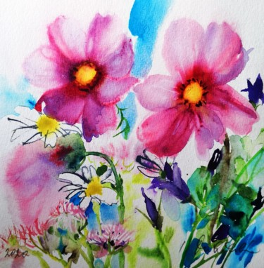 Flower Painting, watercolor, impressionism, artwork by Im