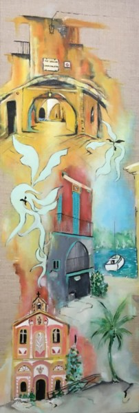 """Painting titled """"Villefranche-sur-mer"""" by Christine D, Original Art, Acrylic"""