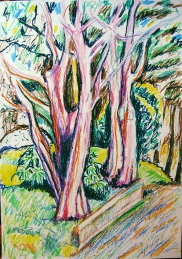 """Painting titled """"Trees at Fort Mason"""" by Ixygon, Original Art,"""