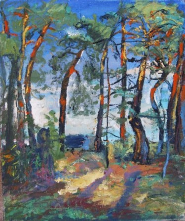"""Painting titled """"Pine trees"""" by Ixygon, Original Art, Oil"""
