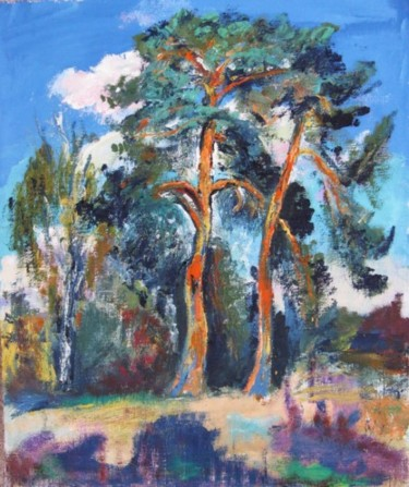 """Painting titled """"Two pine trees"""" by Ixygon, Original Art, Oil"""