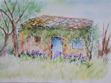 """Painting titled """"Cabane aux iris"""" by Joelle Girard, Original Art, Watercolor"""