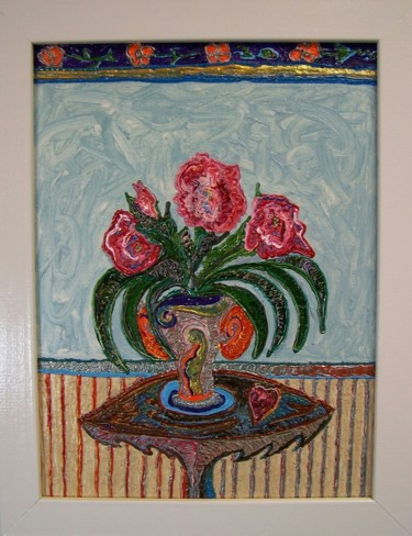 """Painting titled """"Red Flowers"""" by Jose Acosta, Original Art, Acrylic"""