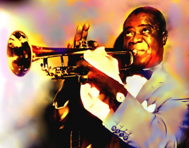 """Painting titled """"Louis Armstrong"""" by Jacqueline Amos, Original Art,"""