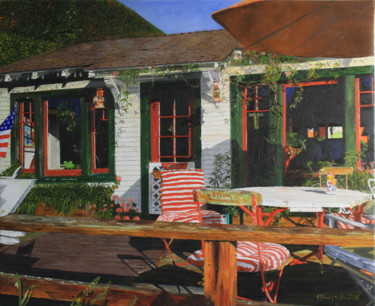 """Painting titled """"An American House,…"""" by Jacques Rouveyrol, Original Art, Oil"""