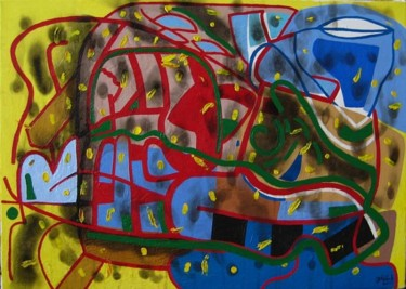 """Painting titled """"A man sits on the g…"""" by Jakub Jerabek, Original Art, Oil"""