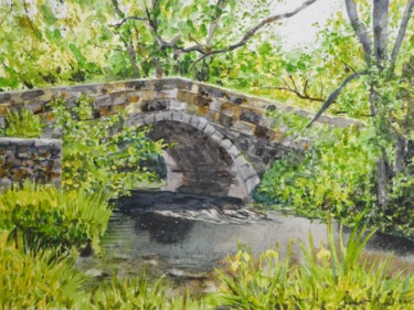 """Painting titled """"Bridge on the Lathk…"""" by James Shand, Original Art, Watercolor"""