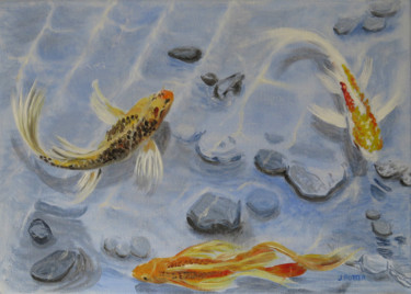Fish Painting, oil, impressionism, artwork by James Potter