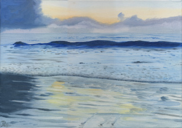 """Painting titled """"Dawn at the beach"""" by James Potter, Original Art, Oil"""