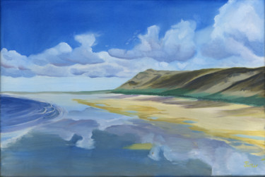 """Painting titled """"Rhossili Reflections"""" by James Potter, Original Art, Oil"""