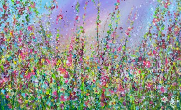"""Painting titled """"A Floral Meadow"""" by Jan Rogers, Original Art, Acrylic"""