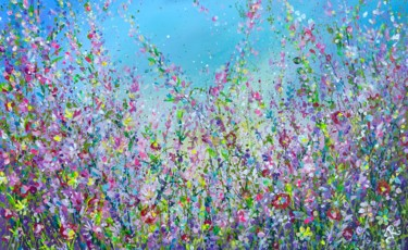 """Painting titled """"Blue Floral Meadow"""" by Jan Rogers, Original Art, Acrylic"""