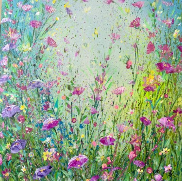 """Painting titled """"Lilac and Pink Flora"""" by Jan Rogers, Original Art, Acrylic"""