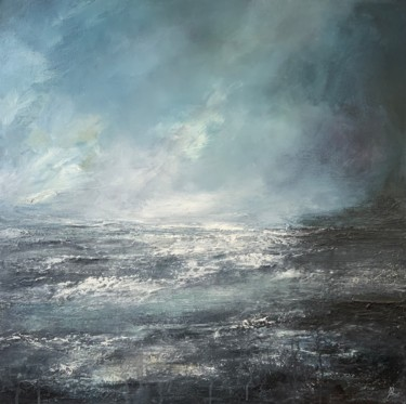 """Painting titled """"Abstract Teal Ocean"""" by Jan Rogers, Original Art, Oil"""