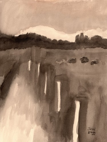 """Painting titled """"Schuh Farms Cows an…"""" by Janel Bragg, Original Art, Ink"""