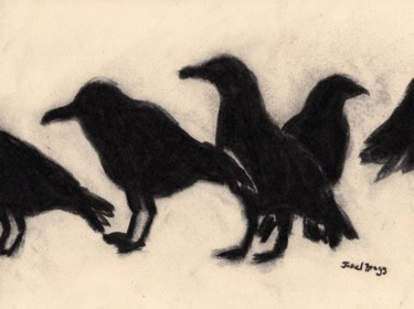 """Drawing titled """"A Conspiracy of Rav…"""" by Janel Bragg, Original Art, Charcoal"""